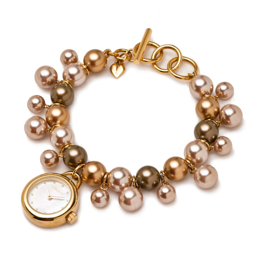 watch pearl gold launches fashionwindows goldpearltogglewatch watches collection network toggle carolee