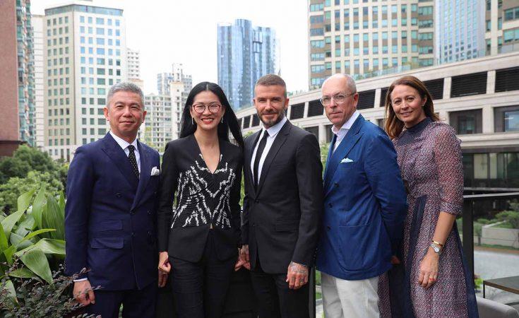 Francis Srun, Xia Ding, David Beckham, Dylan Jones & Caroline Rush